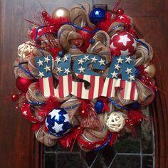 USA Patriotic Khaki Mesh Wreath by HertasWreaths on Etsy