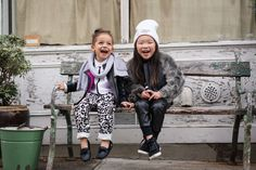 """Scout and Alex having a few laughs while shooting a little toddler street style on Scout The City. Check out our latest post """"Trendsetters""""."""
