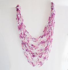 Crocheted necklace using ladder yarn tutorial thanks diy crocheted spring easter ladder trellis yarn necklace ribbon yarn necklace fiber necklace dt1010fo