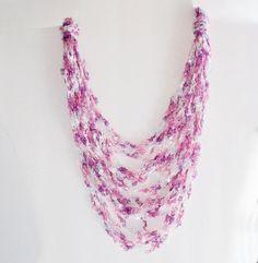 Crocheted Spring Easter Ladder Trellis Yarn Necklace Ribbon Yarn Necklace Fiber Necklace
