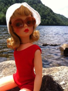 Ideal Tammy doll wearing swimsuit & sunglasses.