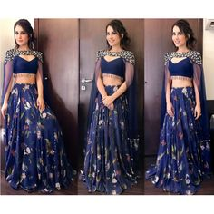 Designer blue tapeta silk printed lehenga with embroidered blouse