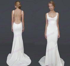 2014 Hand Made Backless Wedding Dresses,Sleeveless Wedding Gowns,Mermaid Wedding Dress,Custom Made Satin Dress Wedding,Long Bridal Gowns