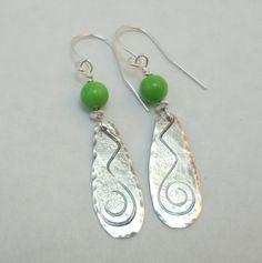 Gaspeite & Sterling Silver Earrings by EllaAndTess on Etsy, $48.00