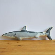 Silkscreen Shark Pillow by shannonbroder on Etsy https://www.etsy.com/listing/152245252/silkscreen-shark-pillow