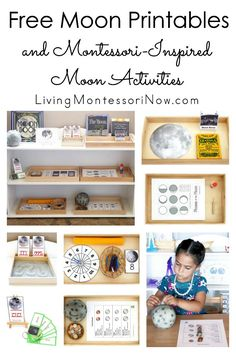 List of free moon printables along with ideas for using moon printables to create Montessori-inspired themed activities for preschoolers through grade 1!! For home or classroom - Living Montessori Now #Montessori #moon #homeschool #freeprintables Montessori Trays, Montessori Science, Montessori Homeschool, Montessori Elementary, Montessori Classroom, Montessori Toddler, Online Homeschooling, Montessori Bedroom, Moon Activities