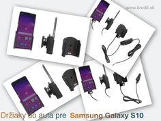 Nové držiaky do auta pre Samsung Galaxy S10. Pasívny držiak Brodit pre pevnú montáž v aute, aktívny s CL nabíjačkou, s USB alebo s Molex konektorom. Apple Iphone, Samsung Galaxy, Usb