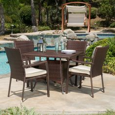 Beachcrest Home Panama 5 Piece Rectangle Dining Set With Cushion