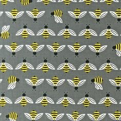 Coming in March!  Laurie Wisbrun Bright & Buzzy collection for Robert Kaufman. Totally dig Bees in Silver.