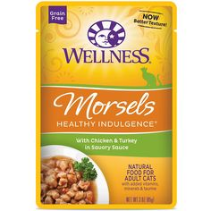 Wellness Healthy Indulgence Natural Grain Free Wet Cat Food, Morsels Chicken and Turkey, 3-Ounce Pouch (Pack of 24) * To view further for this item, visit the image link. (This is an affiliate link) #MyPet