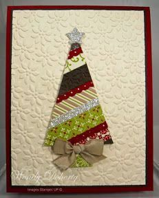 """O Christmas tree of paper scraps! Stare with a simple cone shaped tree of diagonal strips, add a bow and a silver star for this handmade Christmas card. The embossed panel is called """"petals-a-plenty"""" and I think it looks like poinsettias! Homemade Christmas Cards, Christmas Cards To Make, Christmas Tag, Homemade Cards, Handmade Christmas, Holiday Cards, Xmas Cards Handmade, Christmas Tree Quilt, Xmas Trees"""