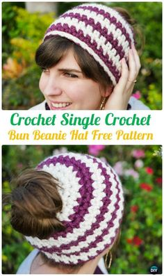 Crochet SingleCrochetBunBeanieHatFreePattern - Crochet Ponytail Messy Bun Hat Free Patterns & Instructions