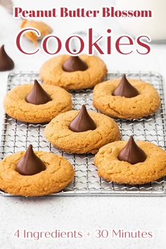 Peanut Butter Blossom Cookies - 4 ingredient cookies that are SO easy to make. Peanut butter cookies with a Hershey kiss in the middle. Peanut Butter Blossoms Recipe | Blossom Cookies | Peanut Butter Cookies #cookies