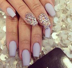 Gray matte rhinestone nails