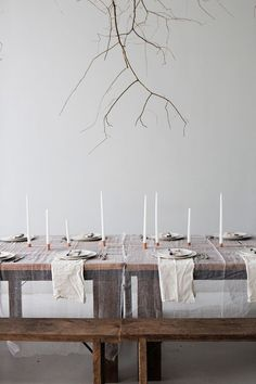 For our ROOTS Dinner this past February, we chose to focus on being grounded, and on highlighting the beauty of the hearty, fortifying ingredients of the Winter Season. With that in mind, we kept the decoration simple and raw. We sprayed large fallen branches with gold paint before having them hung from the ceiling by our friends Taylor and Anna of Fox Fodder Farm. The table was laid simply, with white cheese cloth and muslin napkins, with an abundance of white candles perched in cop...