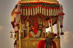 Idol of Goddess Chamundeshwari taken out in the Procession by Mysore Palace