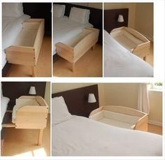 Lovely wood frame bassinet to attach to your bed. Simple Ideas That Are Borderline Genius – 28 Pics