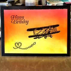 Birthday card for my father in law inspired by a YouTube video by Justine Hovey. Love her! Stamp set by Stampin up, Sky is the limit. Sunrise/sunset background was created using Tim Holtz distress inks in mustard seed, carved pumpkin and abandoned coral.
