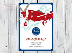 Vintage Airplane, Digital DIY Printable Invitation Boys Birthday, Baby Shower, Gender Reveal. $16.00, via Etsy.