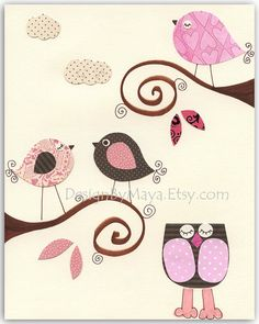 Nursery wall art Children Art print birds baby by DesignByMaya, $17.00 nice branch placement