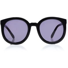Karen Walker Super Duper Strength Sunglasses ($280) ❤ liked on Polyvore featuring accessories, eyewear, sunglasses, glasses, black, oversized black sunglasses, round frame sunglasses, karen walker sunnies, black sunglasses and oversized sunglasses