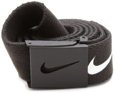 Nike reversible cotton web belt. Adjustable sizing. One size fits most up to size 42. Rubber coated military buckle with bottle opener.