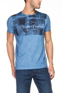 T-shirt de manga curta, decote redondo e estampado superior   115352 AZUL…