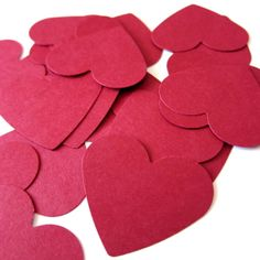 Set of 40  1 1/2 inches wide  RED  Medium Hearts  by HelloDonna, $2.50
