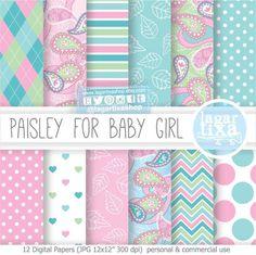 https://www.etsy.com/mx/listing/229179793/papel-digital-fondos-paisley-hindu #Paisley #babyshower #baptism #babygirl #girly #mint #pink #leaves #decoration #wallart #diy