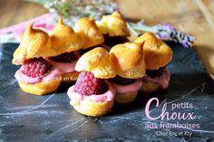 Petits choux - Recette de petits choux à la crème pâtissière aux framboises et framboises fraîches pour un dessert à l'assiette qui participe à un concours