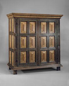 Kast (American Dutch Colonial cupboard) ~ Painted White oak & Red oak