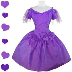 Vintage 80s Purple PROM Full Skirt Glam Party Dress L Bow Tulle Fairy Costume