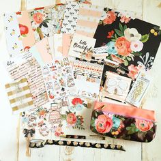 """Here it is!! The full reveal of the April Planner Society kit! This month our theme was girly glam with gorgeous hues of peach oranges blacks gold and cream. All of the items in this kit are exclusive! This kit includes a total of 6 doubled sided patterned papers two decorative and functional stickers sheets for planning and fun new watercolor cotton words strips planner girl stickers ( we co designed with @pinkfreshstudio!) It also includes a gorgeous 2.75"""" planner girl paperclip manufactur... Perfect Planner, Scrapbook Cards, Scrapbooking, Planner Organization, Tampons, Craft Kits, Craft Supplies, Happy Planner, Deco"""