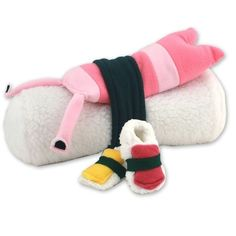 Great Gift Idea! Blanket, slippers, socks and stuffed toy wrapped to look like sushi ;0)