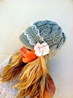Lace Cable Knitted Hat Winter Cap Brimmed with by ThreeBirdNest