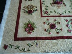 This exquisitely stitched appliqué quilt was made by Pam, and if you look closely at the photos you can see that many of the flowers are ind...