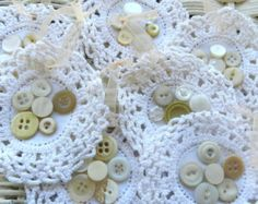 shabby christmas ornaments set 7 gift tags shabby cottage wedding vintage buttons cream doily ornaments cottage decor cream blush