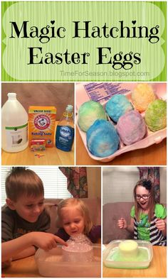 Magic Hatching Easter Eggs baking soda vinegar texture and sensory activity for toddlers science and chemistry http://timeforseason.blogspot.com/2014/03/baking-soda-easter-egg-magic-hatching.html