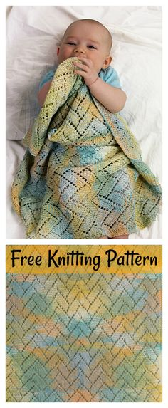 Chevrons Lace Baby Blanket Free Knitting Pattern  #freeknittingpattern #blanket #lace