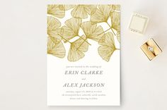 """Falling Ginkgo"" - Hand Drawn, Rustic Wedding Invitations in Mustard by…"