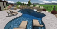 Pool, Fancy Small Swimming Pool Designs For Small Space : Small And Curly Edge Outdoor Pool Illustrationin Wide Open Landsite With Artificial Garden