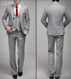 grey suit, vest, white shirt, red tie, red pocket square