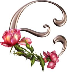 Alfabeto plateado con flores rosas | Fondos de pantalla y mucho más