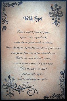 Wish Spell, for a halloween spell book Luck Spells, Magick Spells, Wicca Witchcraft, Moon Spells, Healing Spells, Candle Spells, Fairy Spells, Mermaid Spells, Wiccan Books