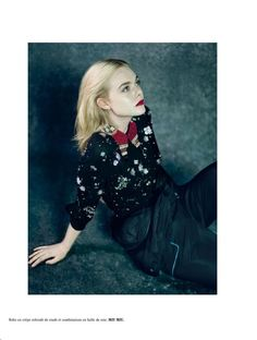 Elle Fanning wears embroidered Miu Miu look