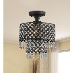 Melinda 3-light Antique Bronze/ Crystal Flush-mount Chandelier. Bought at Sears.