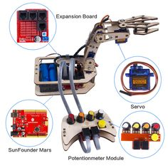 Integrated Circuits Active Components Sunfounder Electronic Diy Robotic Arm Kit 4-axis Servo Control Rollarm With Wired Controller For Arduino Uno R3 Sufficient Supply