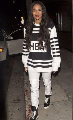 Ciara in -Hood-by-Air-Black-&-White-Triple-Zip-Sleeve-Sweatshirt/Pants