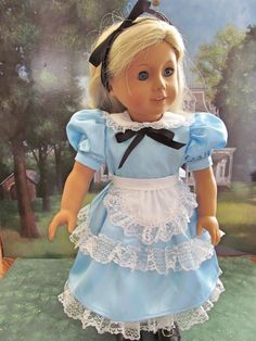 Alice in Wonderland,  Halloween Costume, 18 inch Doll Clothes, Dress up Costume