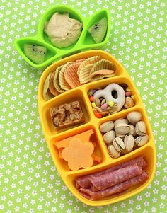 "Nibble Tray on the go snack. ""another lunch"" site. Based on the muffin tin meals fir kids. Such great ideas! She has new meal ideas every monday!! Lots of site sources for accessories to make the meals more fun for kids ( silicone or tin, paper cupcake holders. Themed divided-pans & food picks/skewers, etc.)"